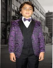 Purple Textured Pattern Notch Lapel Wool Blend Tuxedo