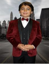 Mens Burgundy Solid Pattern Velvet Suit