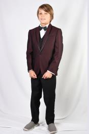 Mens Burgundy Solid Pattern Suit