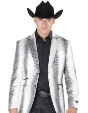 Mens Silver Notch Lapel Two Button Western Suits