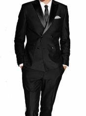 Fit Double Breasted Wool Tuxedo by Alberto Nardoni 4