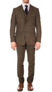 Blinders Style Reed Tweed Vested Suit - 3 Piece