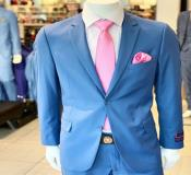 Two Button Single Breasted Notch Lapel Jacket In Blue