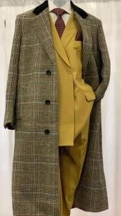 Black and Grey Plaid Checkered Chesterfield Overcoat Top Coat