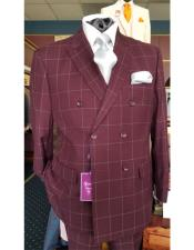 Six Button Double Breasted Peak Lapel Jacket In Burgundy