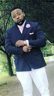 Fashion Navy Blue polka dot pattern Blazer Sport Coat