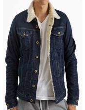 The 13th Blue Denim Jacket With Fur