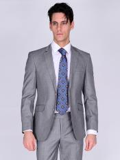 Silk & Wool Fabric Men's Suit-Light Gray
