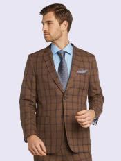 Silk & Wool Fabric Men's Suit-Dark Sand Windowpane