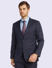 Silk & Wool Fabric Men's Suit-Blue Plaid