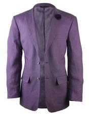Mens Purple Notch Lapel One Chest