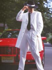 White Gangster Zoot Suit Tuxedo Costume