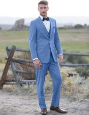 Blue ~ Powder Steel Blue Suit 2 button Vested