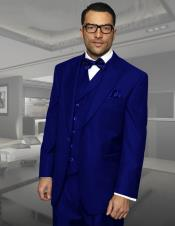 Navy Blue 3 Piece Regular Fit 100% wool Double