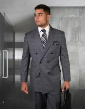 Charcoal Plaid Windowpane Pattern One Chest Pocket 100% Wool