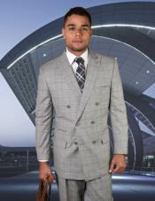 Grey Six Buttons Double Breasted Plaid Windowpane Wool Suit