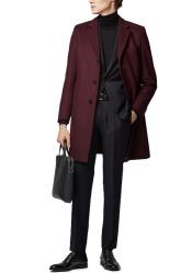 Notch Lapels Standard Length Formal Coat Dark Red