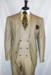 Stitch Double Breasted Peak Lapel Suit Beige
