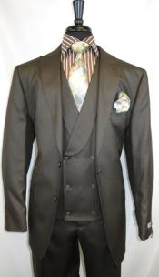 Stitch Double Breasted Peak Lapel Suit Chocolate Brown