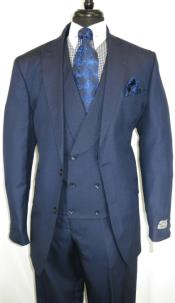 Stitch Double Breasted Shawl Lapel Suit Indigo Blue
