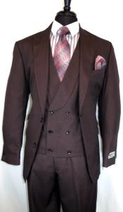 Stitch Double Breasted Peak Lapel Suit Burgundy