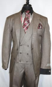 Stitch Double Breasted Peak Lapel Suit Taupe