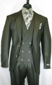 Stitch Double Breasted Peak Lapel Suit Olive