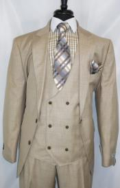 Two Button Closure Double Breasted Beige Suit