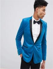 Button Bright Blue Velvet Blazer Notch lapels Slim Fit
