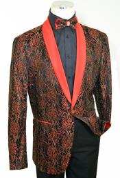 Red~BlackShawlLapel100%PolyOneButtonBlazer