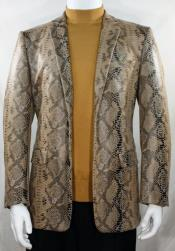 Cream Single Breasted Alligator Python Snakeskin Print Snake Jacket