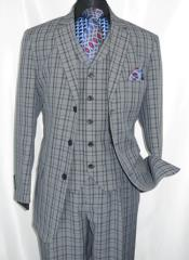 Button 3 Piece Suit Mens Navy Plaid 1920s Fortino