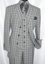 Button 3 Piece Suit Mens Grey Plaid 1920s Fortino
