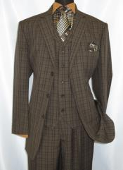 Button 3 Piece Suit Mens Brown Plaid 1920s Fortino