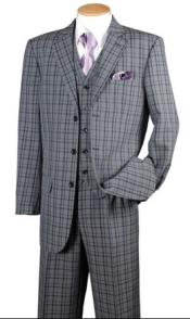 Mens Navy Plaid 1920s Style 3 Piece Fashion Suit