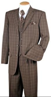 Mens Brown Plaid 1920s Style 3 Piece Fashion Suit