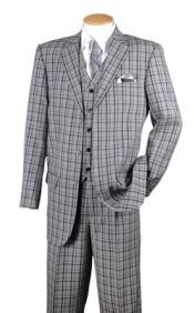 FortinoMensBlackPlaid1920sStyle3PieceFashionSuit