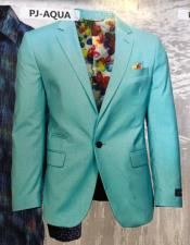 Mens Aqua Ticket Pocket Notch Lapel