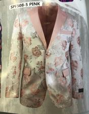 Pink Notch Lapel Blazer Perfect For Wedding and Prom