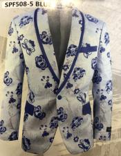 Mens Blue Single Breasted Shawl Lapel