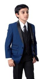 Father and Son Blue Two Front Flap Pockets Suit