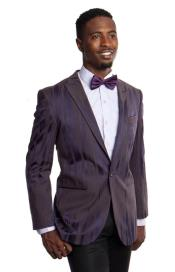 Tone on Tone Pinstripe Stripe Mens Blazer Burgundy