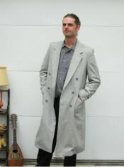 Wool Light Grey Double Breasted Overcoat Topcoat By Alberto