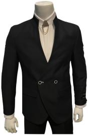 Double Breasted Mandarin Collar Black Suit