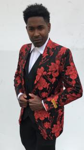 Mens Blazer + Red ~ Black