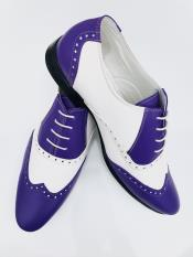 Leather Two Toned Wing Tip Oxford Lace Up Shoe