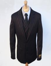 Stripe Gangster Suit Double Breasted Suit Black ~ Red