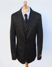 Stripe Gangster Suit Double Breasted Suit Black ~ Gold