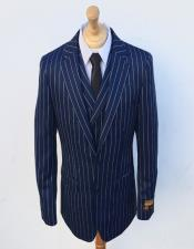 Stripe Gangster Suit Double Breasted Suit Blue