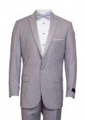 Mens Light Gray Satin Peak Lapel